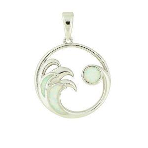 Blue Opal Ocean Wave Silver Pendant