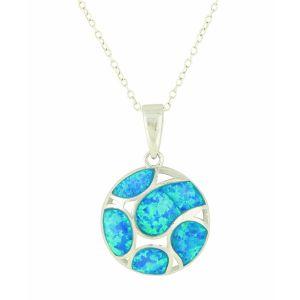 Blue Opal Openwork Silver Pendant