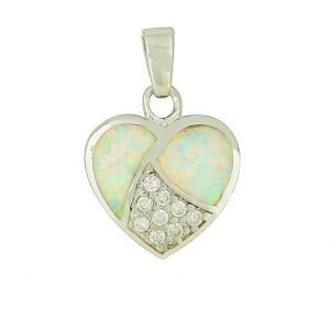 White Opal and Cubic Zirconia Heart Necklace