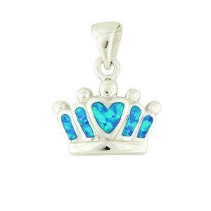 Blue Opal Crown Silver Pendant