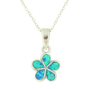 Blue Opal Plumeria Flower Silver Pendant