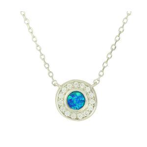 Blue Opal Twinkle Small Silver Pendant