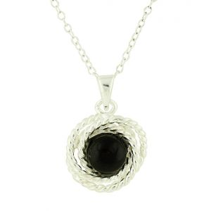 Black Onyx Rope Silver Pendant