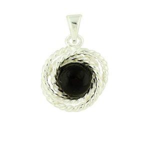 Black Onyx Rope Silver Pendant