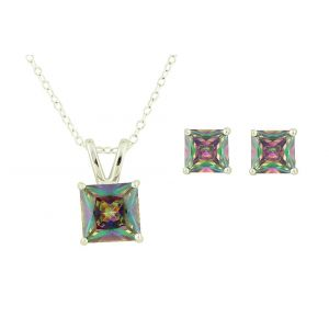 Rainbow Topaz Square Silver Pendant and Earrings Set