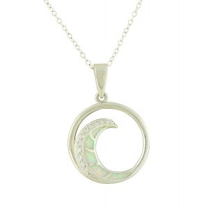 White Opal and Cubic Zirconia Spiral Silver Necklace