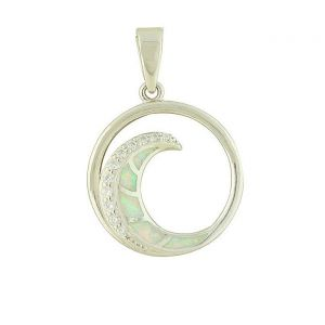 White Opal and Cubic Zirconia Spiral Silver Pendant