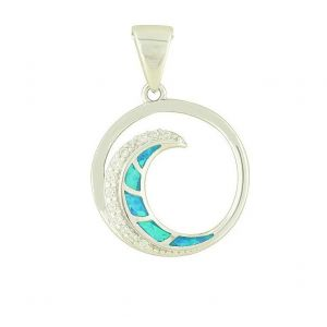 Blue Opal and Cubic Zirconia Spiral Silver Necklace