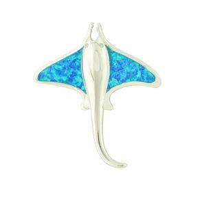Blue Opal Manta Ray Silver Necklace