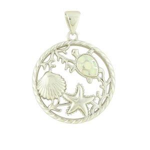 Aquatic White Opal Silver Pendant