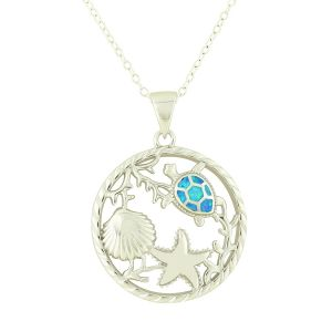Aquatic Blue Opal Silver Necklace