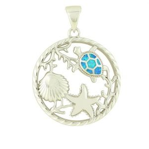 Aquatic Blue Opal Silver Pendant