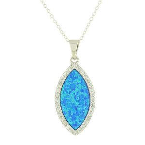Blue Opal Protected Silver Necklace