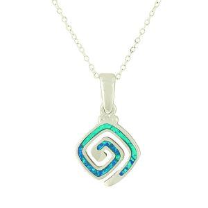 Blue Opal Puzzle Charm Silver Pendant