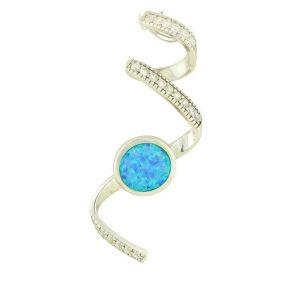 Blue Opal Cascade Silver Pendant
