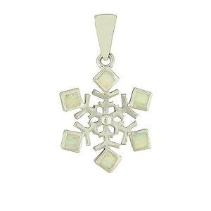 White Opal Snowflake Silver Pendant
