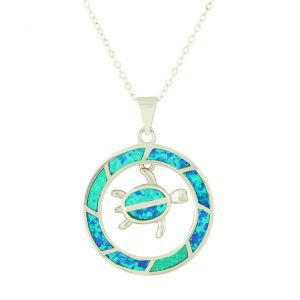 Blue Opal Living Turtle Pendant Necklace