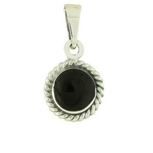 Black Onyx Rope Charm Pendant Necklace
