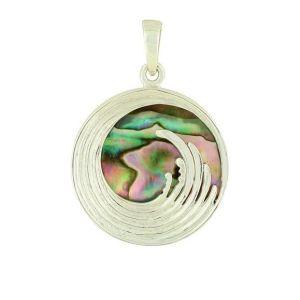Abalone Ocean Wave Silver Pendant