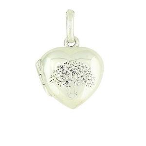 Tree of Life Engraved Silver Heart Locket