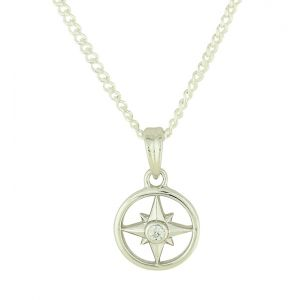 Compass Silver Pendant Necklace