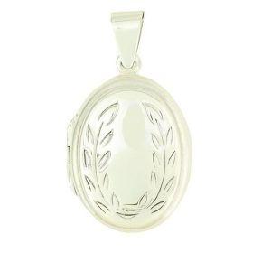 Leaves Pattern Silver Oval Locket