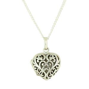 Filigree Heart Silver Locket