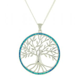 Extra Large Blue Opal Surround Tree Of Life Pendant Necklace