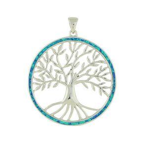 Extra Large Blue Opal Surround Tree Of Life Pendant