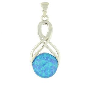Blue Opal Independence Silver Pendant