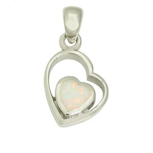 White Opal Cradle Heart Charm