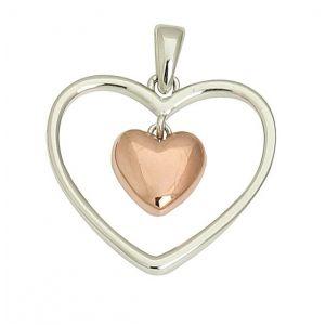 Rose Gold Suspended Heart Pendant