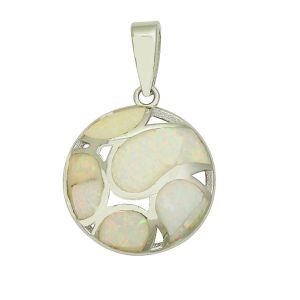 White Opal Openwork Silver Pendant