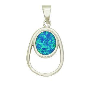 Blue Opal Plectrum Pendant