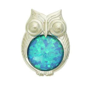 Blue Opal Owl Pendant