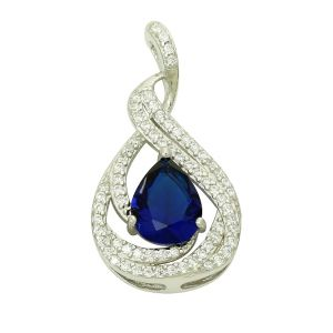 Created Blue Sapphire Fanciful Silver Pendant