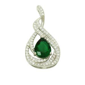 Green Emerald Fanciful Silver Pendant
