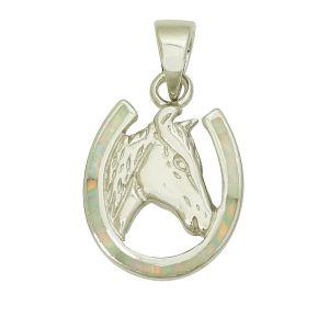 White Opal Horseshoe Pendant