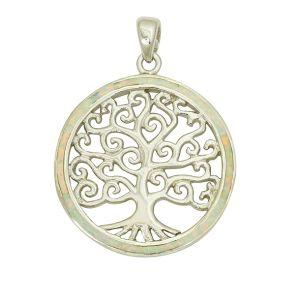 Tree of Life Enlightenment White Opal Pendant