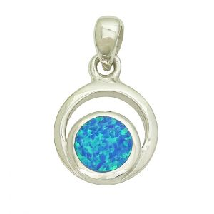 Blue Opal Glance Silver Pendant