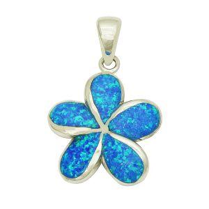 Blue Opal Plumeria Flower Pendant