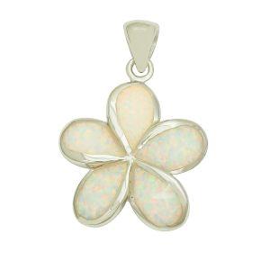 White Opal Plumeria Flower Pendant
