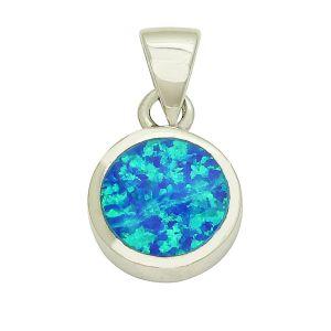 Blue Opal Peek Silver Pendant