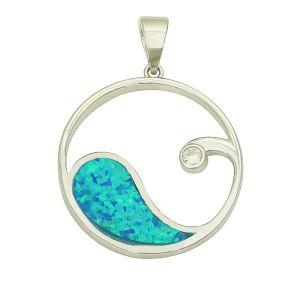 Blue Opal Crest Silver Pendant