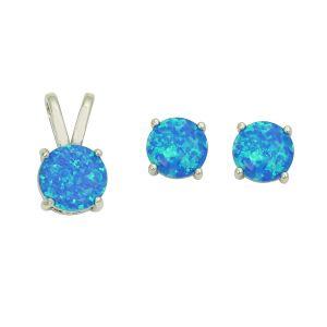 Blue Opal Purist Pendant and Earrings Set