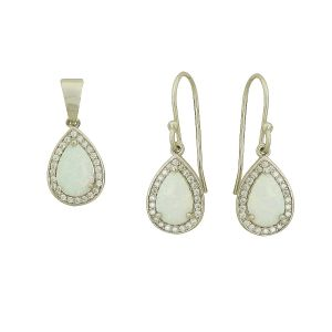 White Opal Victoriana Pendant and Earring Set