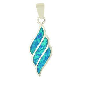 Fluid Diamond Design Blue Opal Pendant