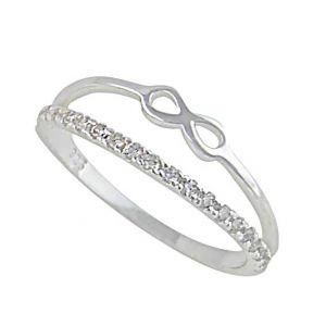 Infinity Cubic Zirconia Silver Ring