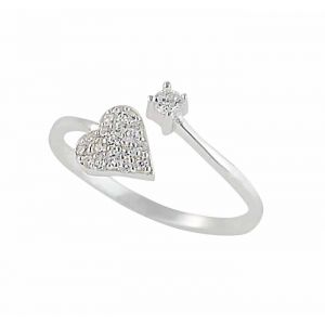 Heart and Cubic Zirconia Silver Ring