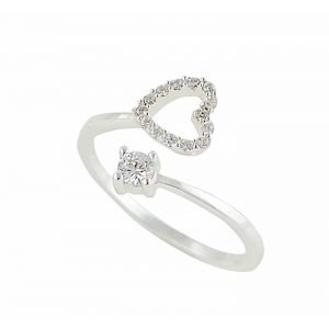 Open Heart and Cubic Zirconia Silver Ring